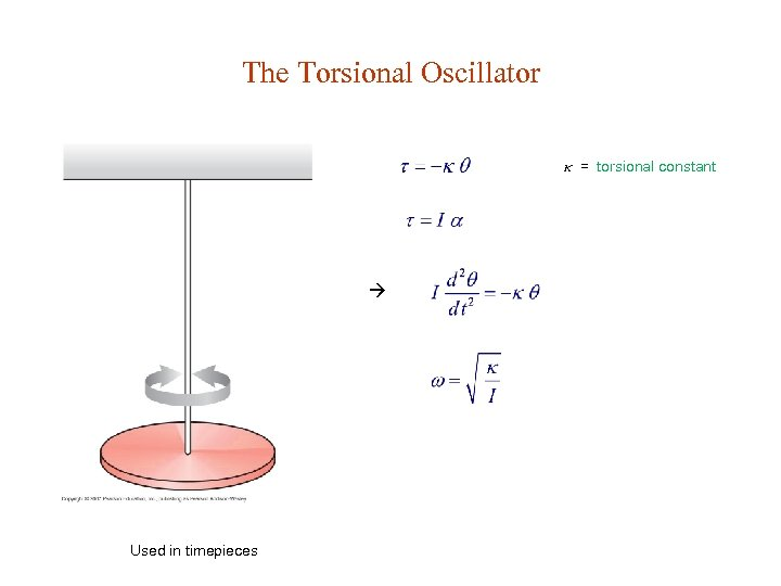 The Torsional Oscillator = torsional constant Used in timepieces