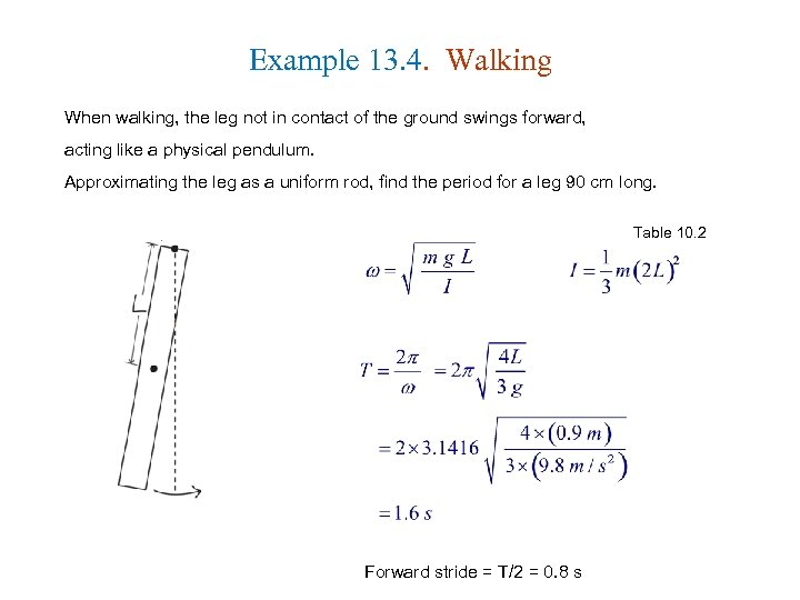 Example 13. 4. Walking When walking, the leg not in contact of the ground