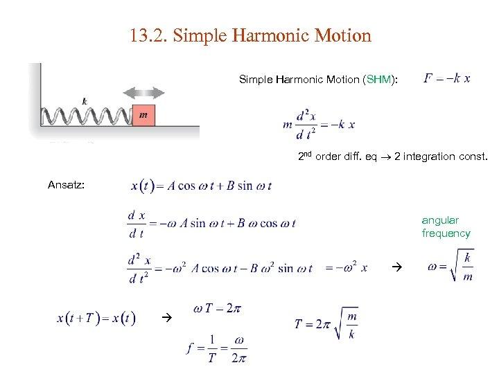 13. 2. Simple Harmonic Motion (SHM): 2 nd order diff. eq 2 integration const.