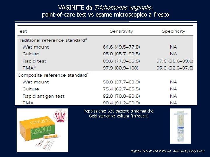 VAGINITE da Trichomonas vaginalis: point-of-care test vs esame microscopico a fresco Popolazione: 330 pazienti