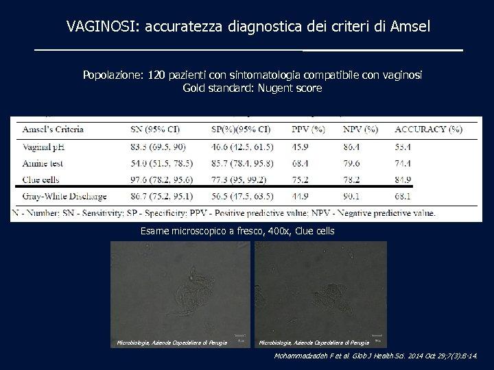 VAGINOSI: accuratezza diagnostica dei criteri di Amsel Popolazione: 120 pazienti con sintomatologia compatibile con