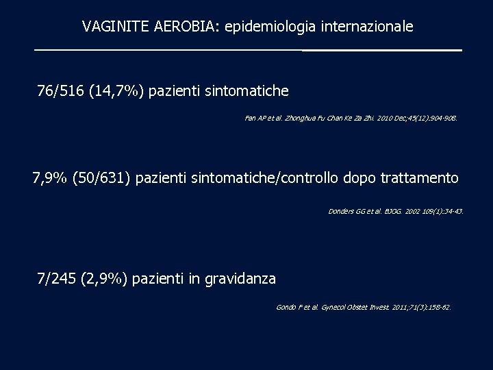 VAGINITE AEROBIA: epidemiologia internazionale 76/516 (14, 7%) pazienti sintomatiche Fan AP et al. Zhonghua