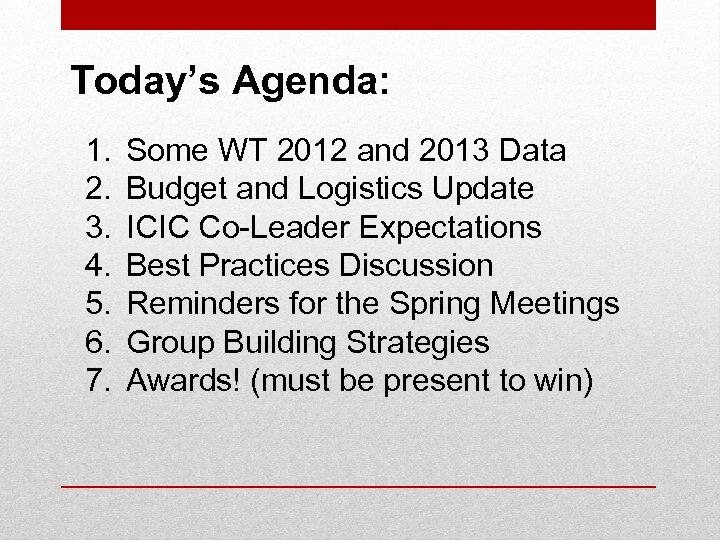 Today's Agenda: 1. 2. 3. 4. 5. 6. 7. Some WT 2012 and 2013