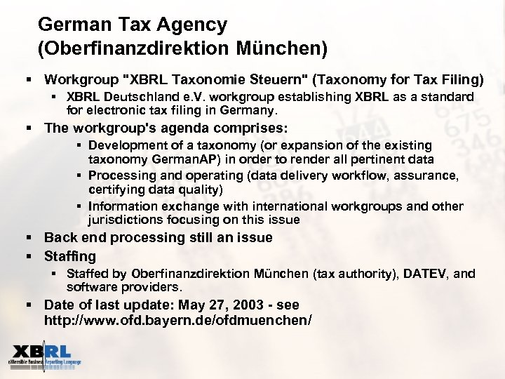 German Tax Agency (Oberfinanzdirektion München) § Workgroup