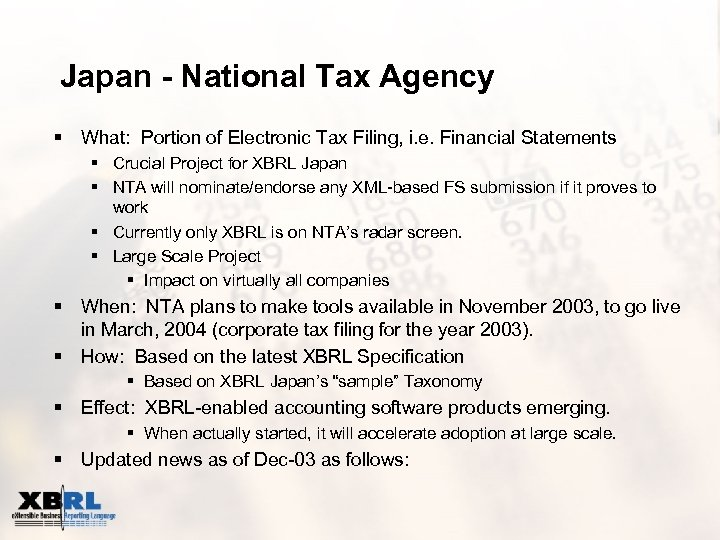 Japan - National Tax Agency § What: Portion of Electronic Tax Filing, i. e.