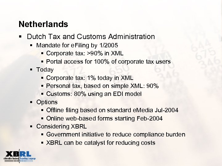 Netherlands § Dutch Tax and Customs Administration § Mandate for e. Filing by 1/2005