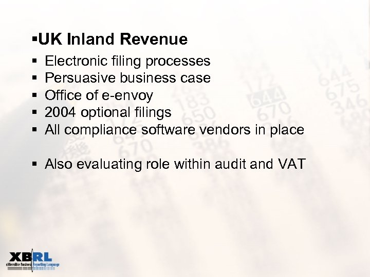 §UK Inland Revenue § § § Electronic filing processes Persuasive business case Office of
