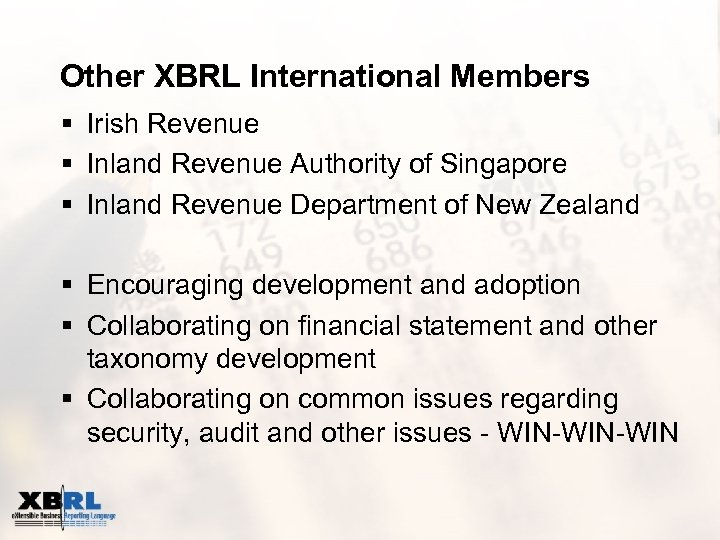 Other XBRL International Members § Irish Revenue § Inland Revenue Authority of Singapore §