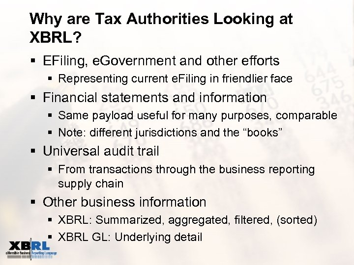 Why are Tax Authorities Looking at XBRL? § EFiling, e. Government and other efforts