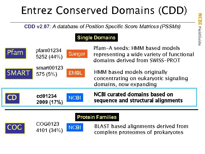 CDD v 2. 07: A database of Position Specific Score Matrices (PSSMs) Single Domains
