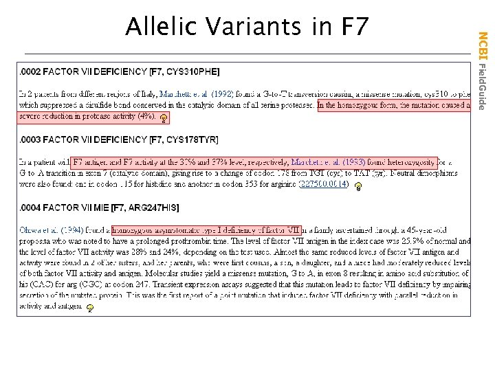 NCBI Field. Guide Allelic Variants in F 7