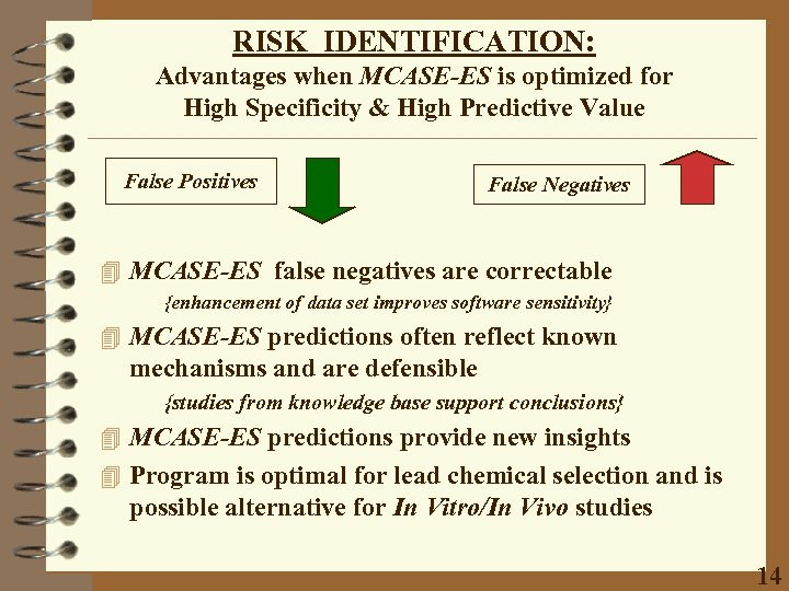 RISK IDENTIFICATION: Advantages when MCASE-ES is optimized for High Specificity & High Predictive Value
