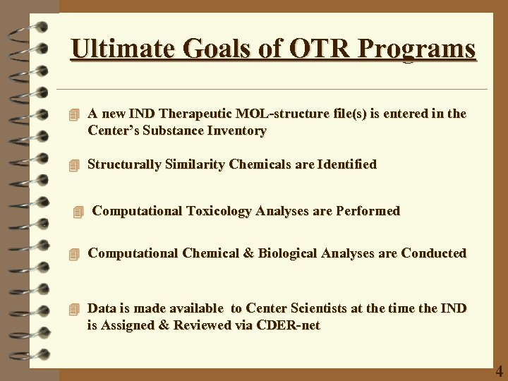 Ultimate Goals of OTR Programs 4 A new IND Therapeutic MOL-structure file(s) is entered