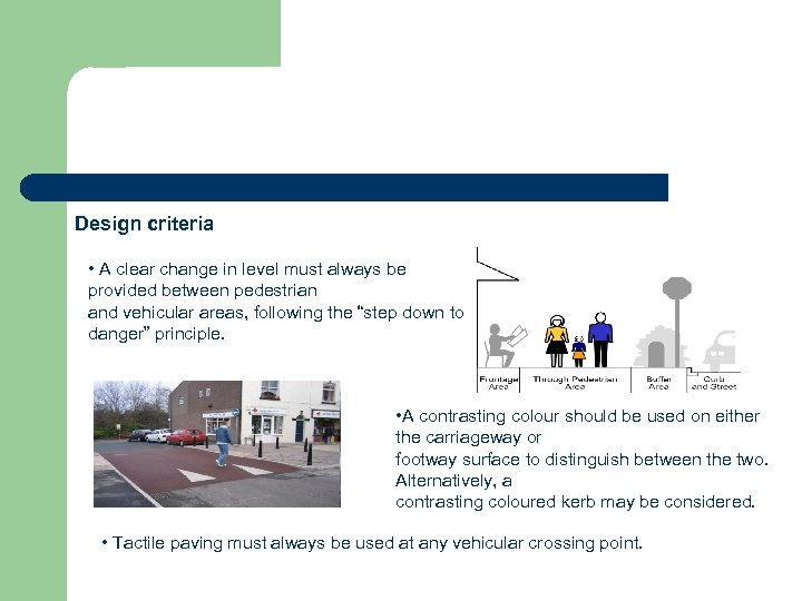 Design criteria • A clear change in level must always be provided between pedestrian