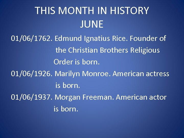 THIS MONTH IN HISTORY JUNE 01/06/1762. Edmund Ignatius Rice. Founder of the Christian Brothers