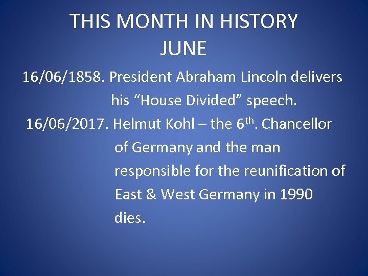 "THIS MONTH IN HISTORY JUNE 16/06/1858. President Abraham Lincoln delivers his ""House Divided"" speech."