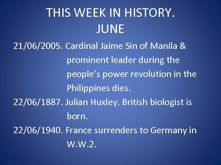 THIS WEEK IN HISTORY. JUNE 21/06/2005. Cardinal Jaime Sin of Manila & prominent leader
