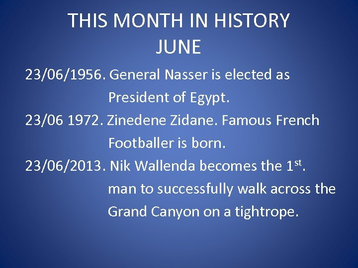 THIS MONTH IN HISTORY JUNE 23/06/1956. General Nasser is elected as President of Egypt.