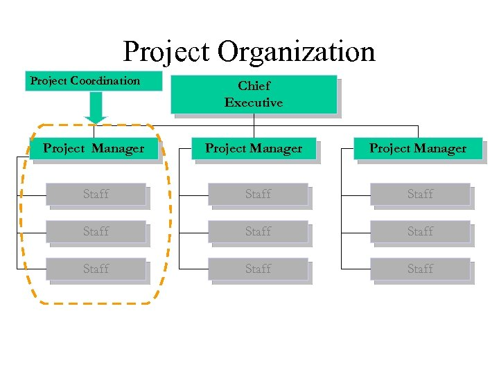 Project Organization Project Coordination Project Manager Chief Executive Project Manager Staff Staff Staff