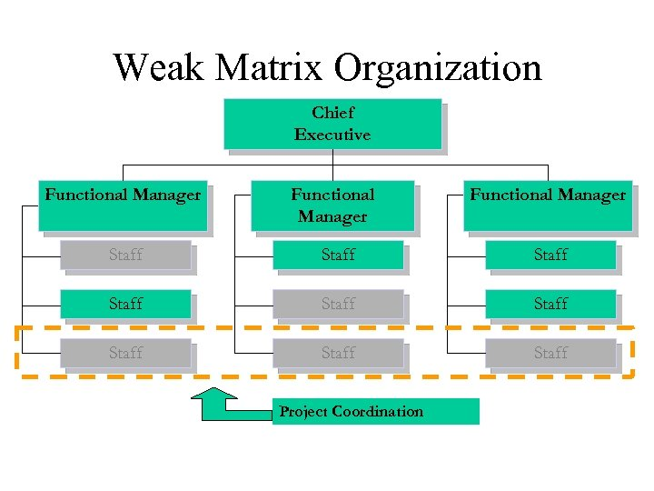 Weak Matrix Organization Chief Executive Functional Manager Staff Staff Staff Project Coordination