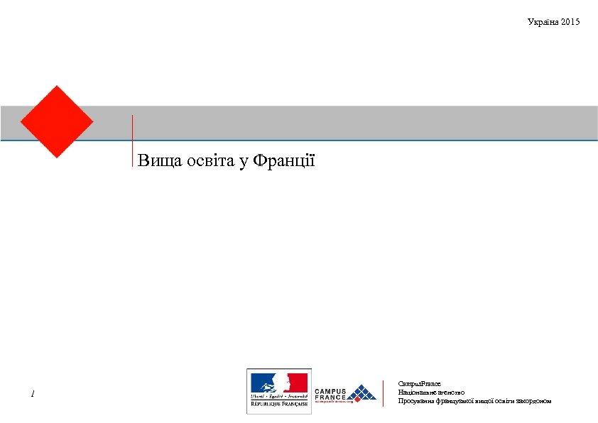 Україна 2015 Вища освіта у Франції 1 Campus. France Національне агенство Просування французької вищої