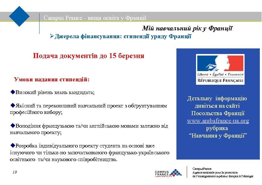 Campus France - вища освіта у Франції Мій навчальний рік у Франції Джерела фінансування