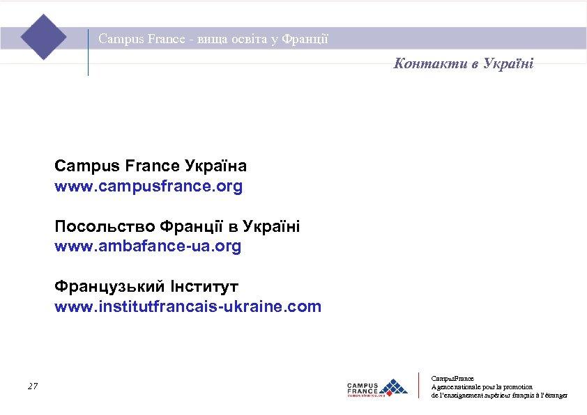 Campus France вища освіта у Франції Campus. France --вища освіта у Франції Контакти в