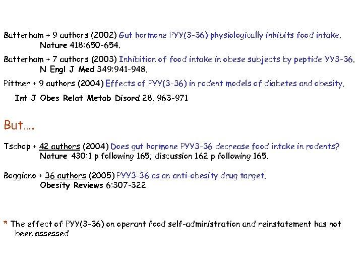 Batterham + 9 authors (2002) Gut hormone PYY(3 -36) physiologically inhibits food intake. Nature