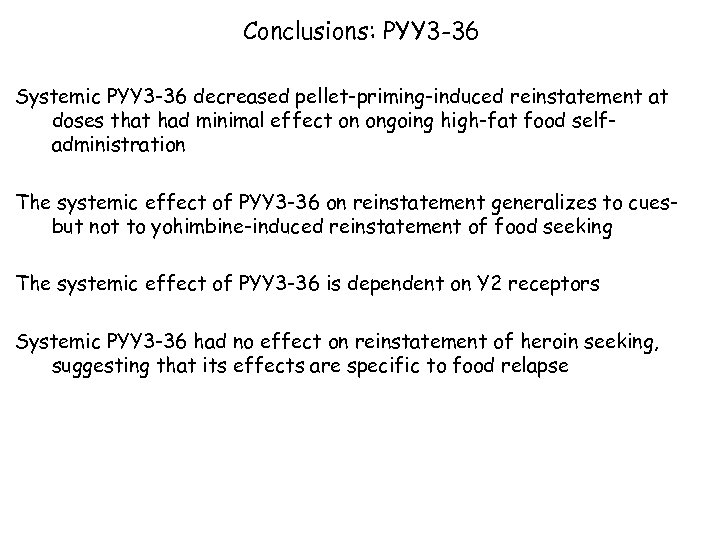 Conclusions: PYY 3 -36 Systemic PYY 3 -36 decreased pellet-priming-induced reinstatement at doses that