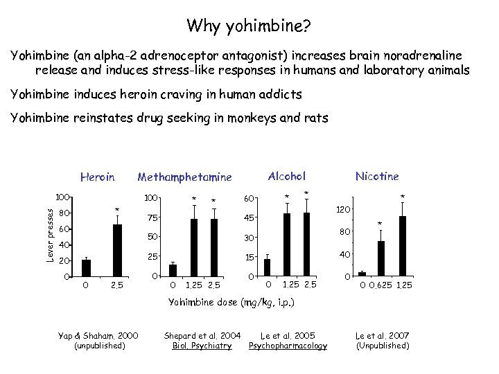 Why yohimbine? Yohimbine (an alpha-2 adrenoceptor antagonist) increases brain noradrenaline release and induces stress-like