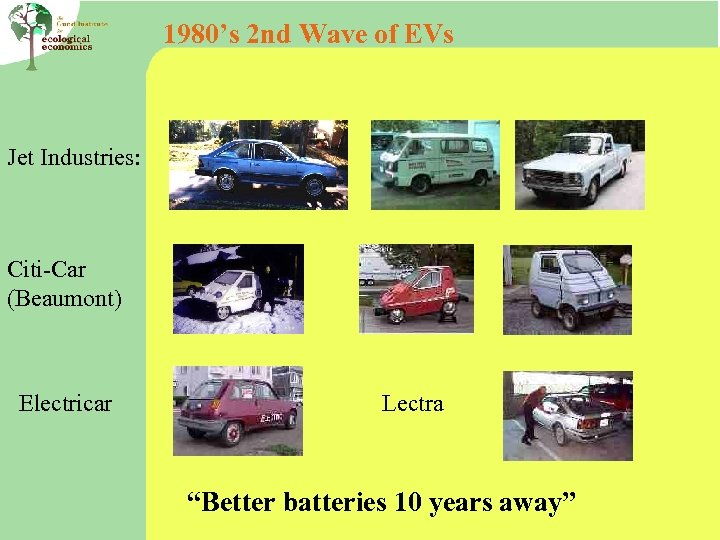 """1980's 2 nd Wave of EVs Jet Industries: Citi-Car (Beaumont) Electricar Lectra """"Better batteries"""