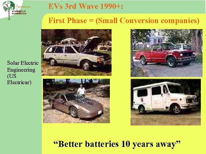 EVs 3 rd Wave 1990+: First Phase = (Small Conversion companies) Solar Electric Engineering