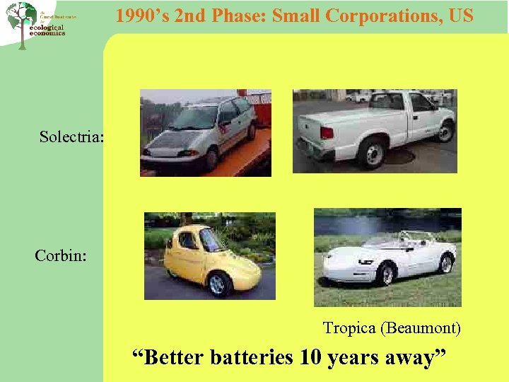 """1990's 2 nd Phase: Small Corporations, US Solectria: Corbin: Tropica (Beaumont) """"Better batteries 10"""