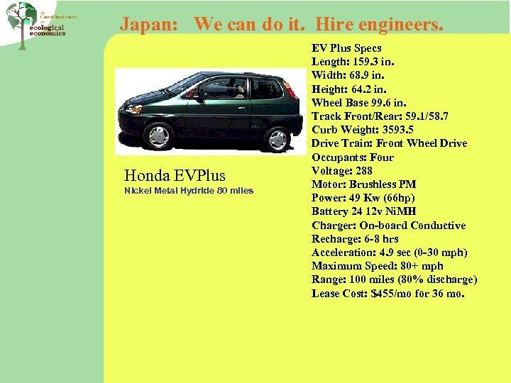 Japan: We can do it. Hire engineers. Honda EVPlus Nickel Metal Hydride 80 miles