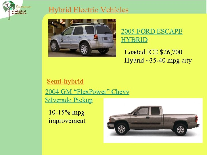 Hybrid Electric Vehicles 2005 FORD ESCAPE HYBRID Loaded ICE $26, 700 Hybrid ~35 -40