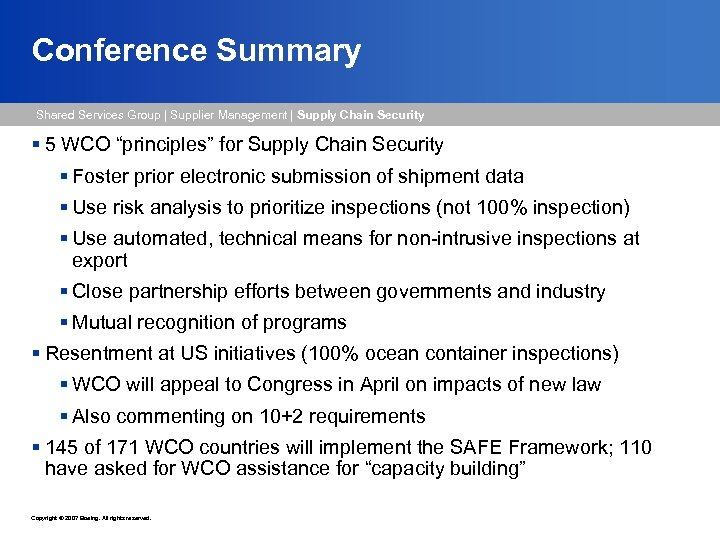 Conference Summary Shared Services Group   Supplier Management   Supply Chain Security § 5