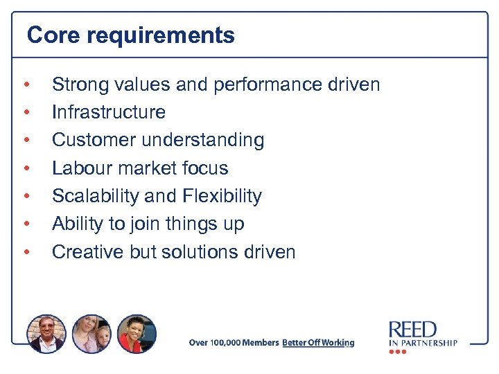 Core requirements • • Strong values and performance driven Infrastructure Customer understanding Labour market