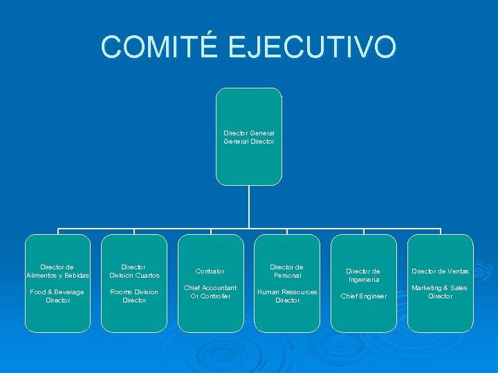 COMITÉ EJECUTIVO Director General Director de Alimentos y Bebidas Director División Cuartos Food &