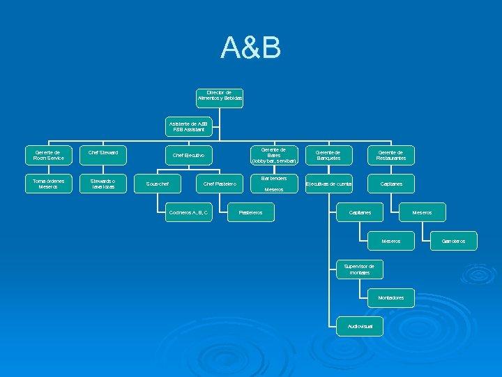 A&B Director de Alimentos y Bebidas Asistente de A&B F&B Assistant Gerente de Room