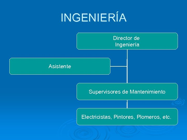 INGENIERÍA Director de Ingeniería Asistente Supervisores de Mantenimiento Electricistas, Pintores, Plomeros, etc.