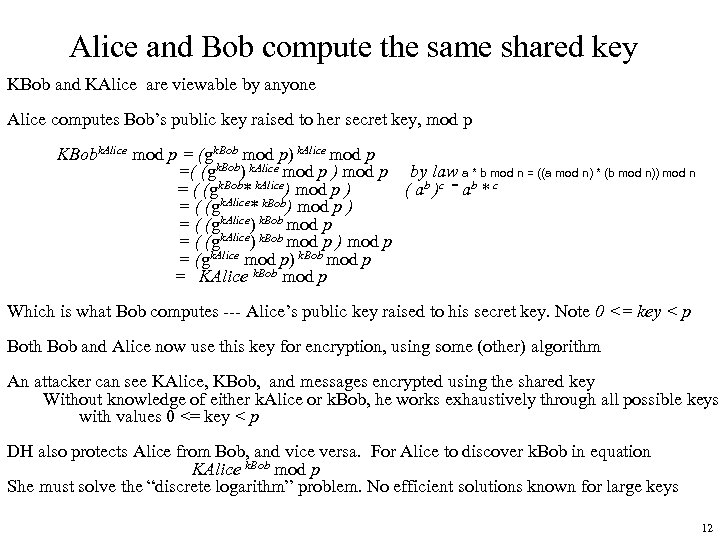 Alice and Bob compute the same shared key KBob and KAlice are viewable by