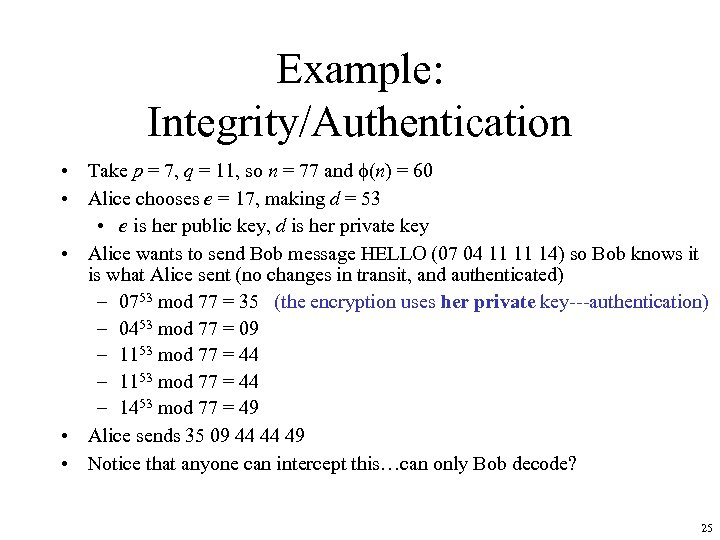 Example: Integrity/Authentication • Take p = 7, q = 11, so n = 77