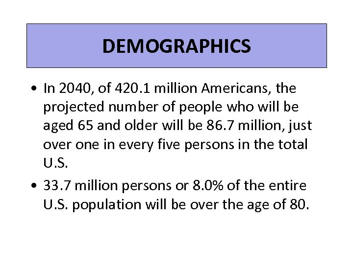 DEMOGRAPHICS • In 2040, of 420. 1 million Americans, the projected number of people