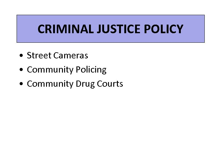 CRIMINAL JUSTICE POLICY • Street Cameras • Community Policing • Community Drug Courts
