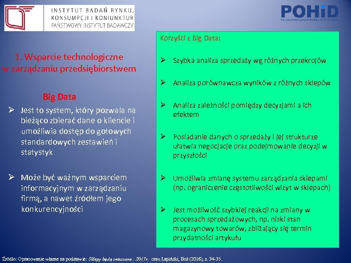 Korzyści z Big Data: 1. Wsparcie technologiczne w zarządzaniu przedsiębiorstwem Ø Szybka analiza sprzedaży