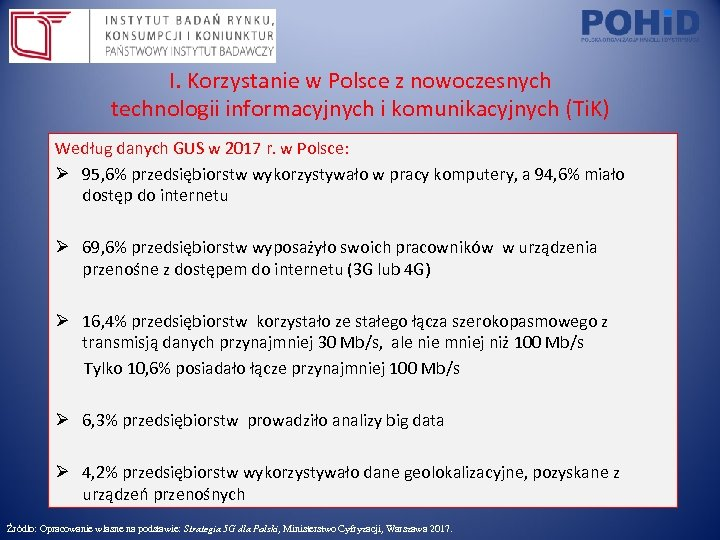 I. Korzystanie w Polsce z nowoczesnych technologii informacyjnych i komunikacyjnych (Ti. K) Według danych