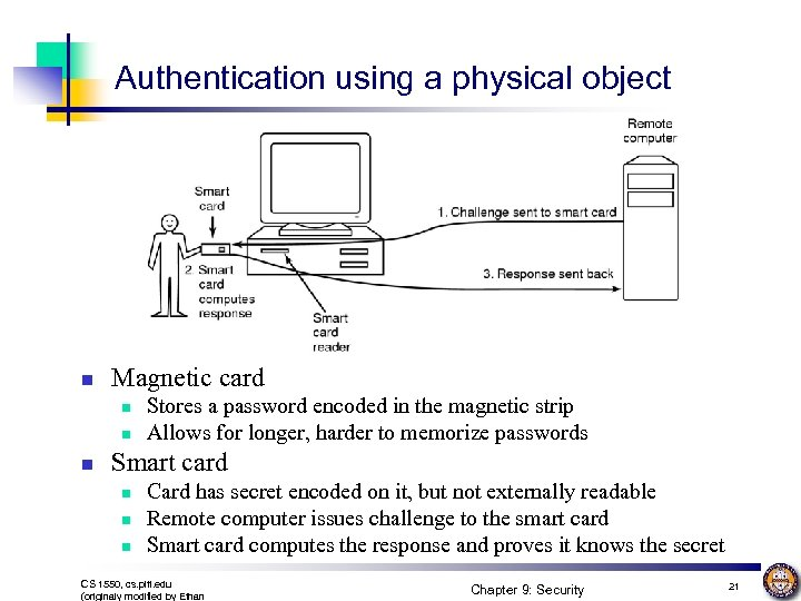 Authentication using a physical object n Magnetic card n n n Stores a password