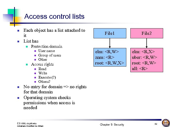 Access control lists n n Each object has a list attached to it List