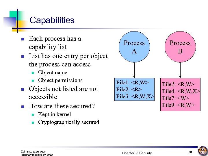 Capabilities n n Each process has a capability list List has one entry per