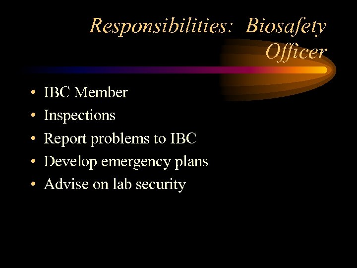 Responsibilities: Biosafety Officer • • • IBC Member Inspections Report problems to IBC Develop